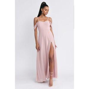 Tobi Blush Pink Off-the-Shoulder Slit Maxi Dress